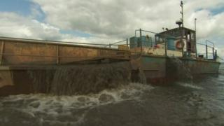 Sand being dredged from Lough Neagh