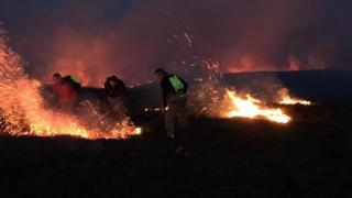 The Cuilcagh Mountain trail in County Fermanagh has been closed to the public after a fire broke out on Sunday evening