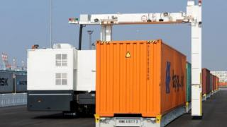 Container being scanned