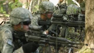 Members of the US 173rd Airborne Brigade participate in Nato exercise in Estonia. May 2014