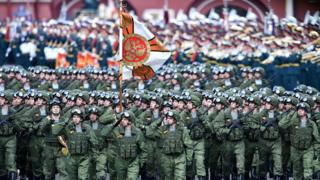 Russian soldiers march at the Red Square during the Victory Day military parade general rehearsal in Moscow on 7 May 2016