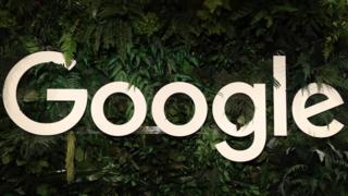 White version of the Google logo among plants