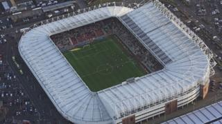 Sunderland Stadium of Light, pictured from above