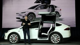 Tesla chief executive Elon Musk launches the Model X.