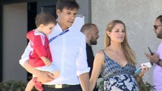 Chris Coleman with wife Charlotte and son Finlay