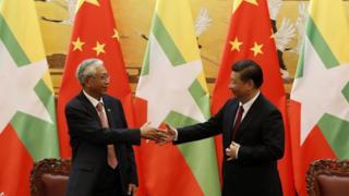 緬甸總統吳廷覺和中國國家主席習近平