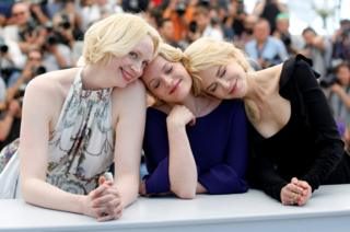 Cast members Gwendoline Christie, Nicole Kidman and Elisabeth Moss pose at Cannes