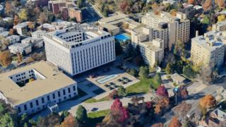 A Google Maps 3D view of the Russian embassy in Washington DC, showing a small stretch of Wisconsin Avenue