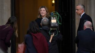 Penny Mordaunt arrives at her new department