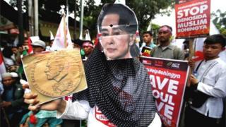 Demonstrasi di depan Kedutaan Besar Myanmar