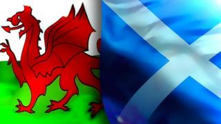 Welsh and Scotland flags