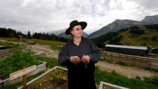 Michelin-starred French chef Marc Veyrat poses in his garden on September 26, 2013 in Manigod, on the Col de la Croix Fry mountain pass