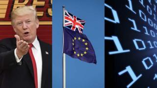 Trump, EU flags and tech graphic