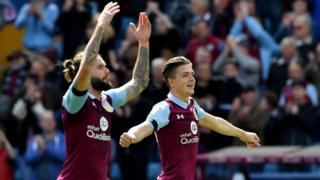 Jack Grealish (right) of Aston Villa celebrates after his side's 1-0 victory