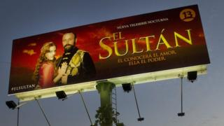 A billboard in the Chilean capital Santiago for Turkish soap opera El Sultan