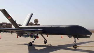 The first drone to be used by the Iraqi Air Force, loaded with ordnance, prepares to take-off to attack Islamic State group positions at an airbase in Kut 10 October 2015