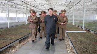 Ким Чен Ын во время визита на ферму.