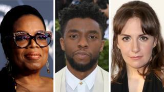 Oprah Winfrey (l), Chadwick Boseman (c), Lena Dunham (r)