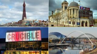 (clockwise from top left) Blackpool, Bradford, Newcastle-Gateshead, Sheffield