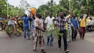 Une manifestation de soutien à Sébastien Ajavon, lundi 31 octobre, à Cotonou