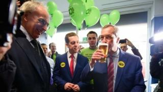 """Tory MP Peter Bone (L) and Tom Pursglove MP join UKIP leader Nigel Farage in """"The Little Ale House"""", in Wellingborough ahead of launch of Grassroots Out campaign"""