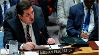Russian Deputy Permanent Representative to the United Nations Vladimir Safronkov speaks after he voted against a Draft resolution that condemned the reported use of chemical weapons in Syria at the Security Council on April 12, 2017 at UN Headquarters in New York