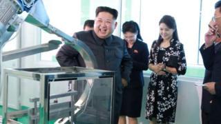 41796227 - Kim Jong-un visits cosmetics factory
