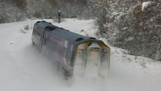 Поезд в снегу