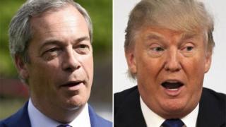 英国独立党のファラージ党首(写真左)は米国の大統領選でトランプ氏を支持していた