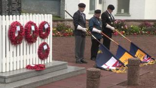 Wreaths were placed at the war memorial at Ballycastle on Monday
