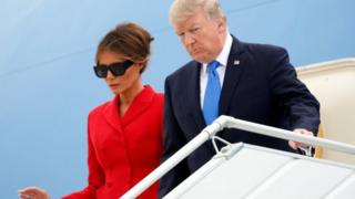 US President Donald Trump and First Lady Melania Trump arrive aboard Air Force One at Orly airport near Paris, France, 13 July 2017.