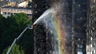 Firefighters spraying water onto Grenfell Tower