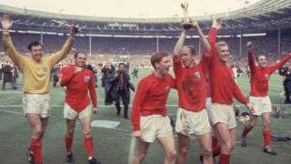 England celebrate winning the 1966 World Cup final against West Germany