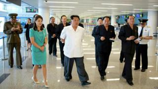 North Korean leader Kim Jong-un inspects a newly built terminal of Pyongyang International Airport with his wife Ri Sol-ju - 25 June 2015