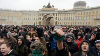 Участники акции протеста в Петербурге