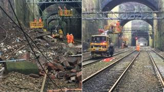 Before and after pictures of the tracks