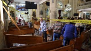 Scene of bombing at Coptic church in Tanta (09/04/17)