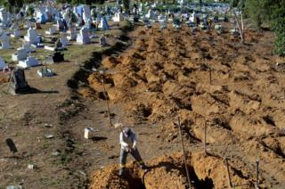 A worker prepares graves for inmates who died during a prison riot, at the cemetery of Taruma in Manaus, Brazil