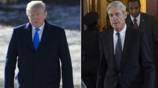Two side-by-side pictures of US President Donald Trump and former FBI Director Robert Mueller, special counsel on the Russian investigation