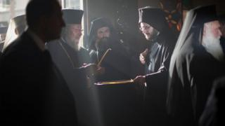 Orthodox priests taking part in the historic Holy and Great Council on Crete