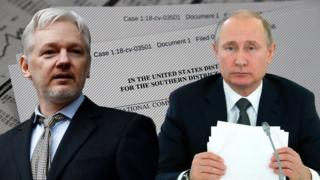 composite image of Julian Assange and Vladimir Putin