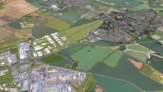 Aerial view of aerodrome and the village of Preston