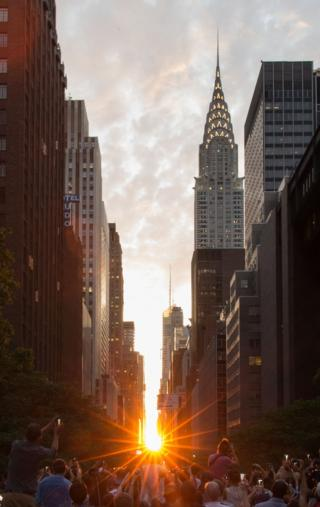 Manhattanhenge' New York, USA - 11 Jul 2016
