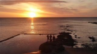 sunrise at Castle Beach in St Andrews