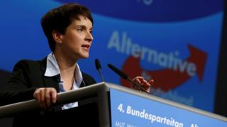Frauke Petry, leader of the AfD party, speaking in Hannover (file photo - November 2015)