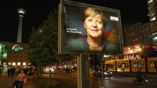 Election campaign billboard wey show German Chancellor and her party Christian Democrat (CDU)