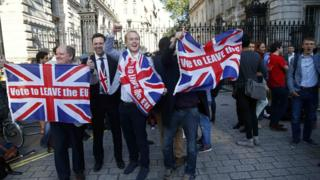 Vote Leave supporters celebrate outside Downing Street