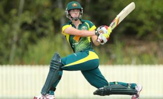 Elyse Villani of Australia bats during the women's international series T20 match between the Australian Southern Stars and Pakistan at Kerrydale Oval in September
