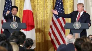 Trump recibió a Abe en la Casa Blanca antes de viajar a Florida.