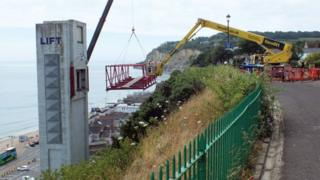 The removal of the walkway of the Shanklin Lift as part of the refurbishment